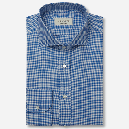 shirt 100% pure cotton oxford double twisted  houndstooth  blue, collar style  lower spread collar