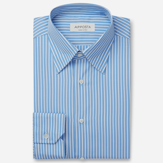 shirt 100% pure cotton plain  stripes  light blue, collar style  hidden button down collar