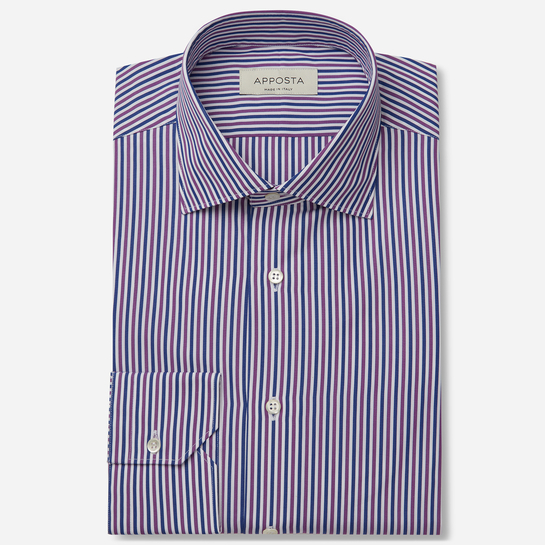 shirt 100% pure cotton poplin double twisted  stripes  multi, collar style  semi-spread collar
