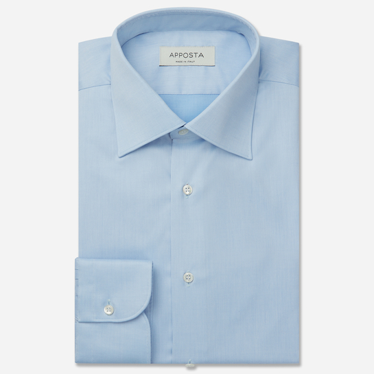 shirt 100% non-iron cotton twill  solid  cyan, collar style  regular straight point collar, cuff  round