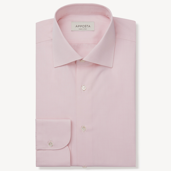 shirt 100% pure cotton poplin double twisted  solid  pink, collar style  semi-spread collar