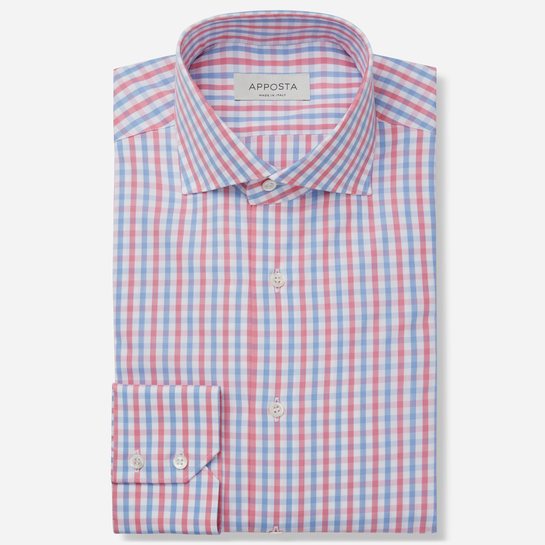 shirt 100% pure cotton poplin double twisted  big checks  multi, collar style  spread collar, cuff  round