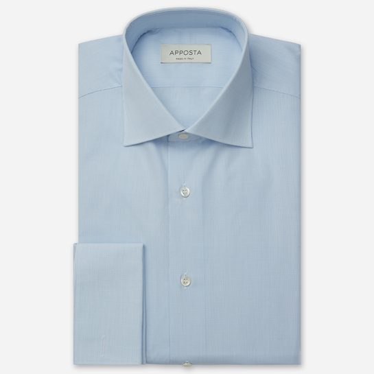 shirt 100% pure cotton plain  small checks  light blue, collar style  semi-spread collar