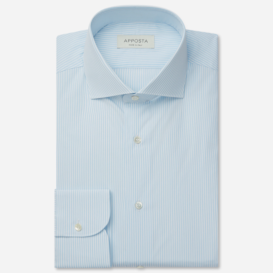 shirt 100% pure cotton fil-à-fil  stripes  cyan, collar style  lower spread collar, cuff  round