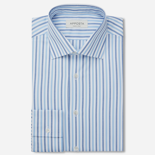 shirt 100% pure cotton poplin  stripes  light blue, collar style  lower spread collar, cuff  convertible