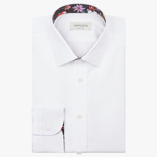 shirt 100% pure cotton twill double twisted  solid  white, collar style  updated straight point collar