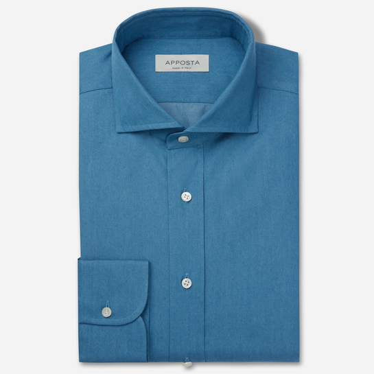 shirt 100% pure cotton denim double twisted  solid  light blue, collar style  lower spread collar