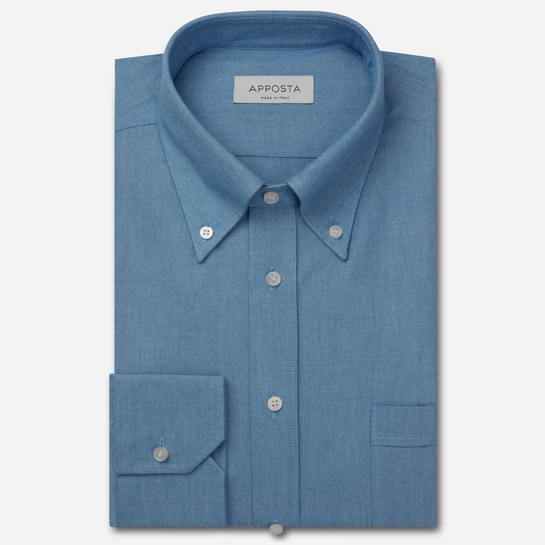 shirt 100% pure cotton denim  solid  blue, collar style  button-down collar