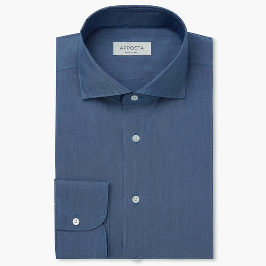 shirt cotton-silk denim  solid  light blue, collar style  lower spread collar