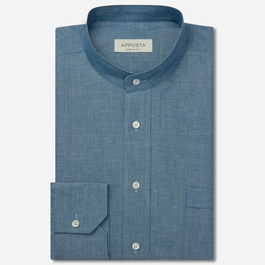 shirt linen denim normandy linen  solid  blue, collar style  band collar