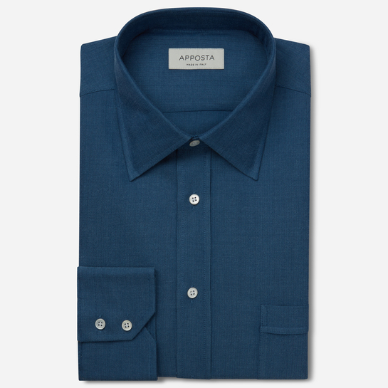 shirt 100% pure cotton denim double twisted  designs  blue, collar style  low straight point collar, cuff  two button