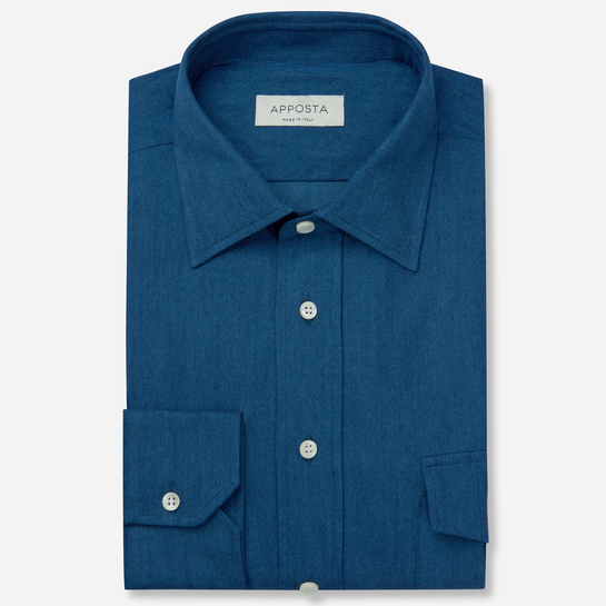 shirt 100% pure cotton denim  solid  blue, collar style  low straight point collar, cuff  angled