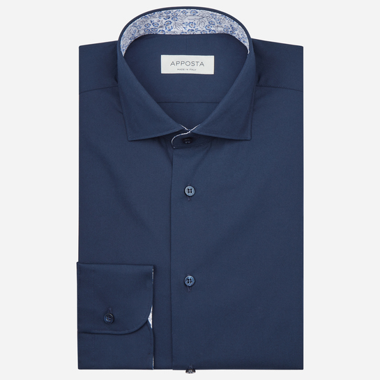 shirt 100% pure cotton poplin  solid  blue, collar style  lower spread collar