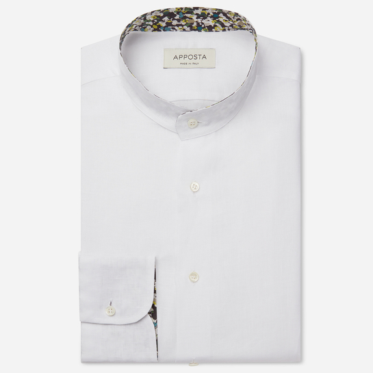 shirt linen plain  solid  white, collar style  band collar