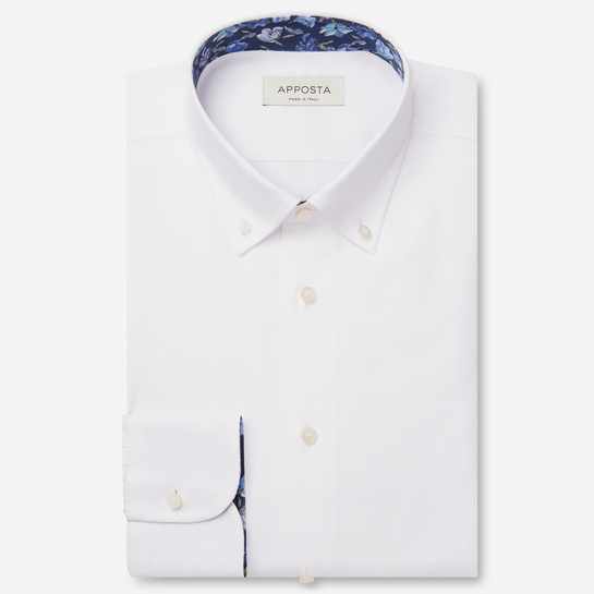 shirt 100% non-iron cotton twill  solid  white, collar style  low button-down collar