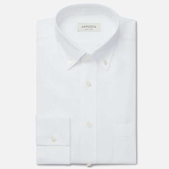 shirt linen plain  solid  white, collar style  low button-down collar, cuff  straight