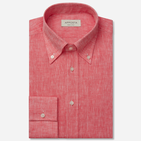 shirt linen zephyr normandy linen  solid  red, collar style  button-down collar, cuff  straight