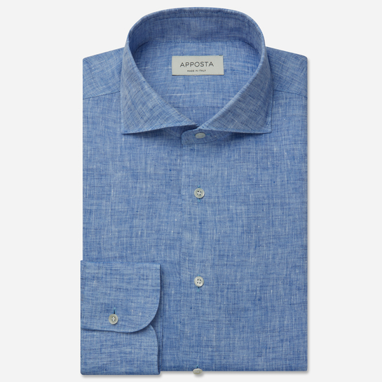 shirt linen zephyr normandy linen  solid  light blue, collar style  lower spread collar, cuff  round