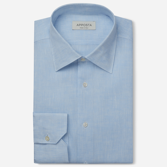 shirt linen plain  solid  cyan, collar style  low straight point collar, cuff  angled