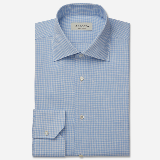 shirt linen zephyr normandy linen  small checks  light blue, collar style  semi-spread collar, cuff  angled