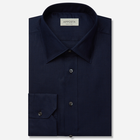 shirt linen plain  solid  blue, collar style  low straight point collar, cuff  angled