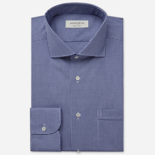 shirt 100% non-iron cotton poplin  small checks  blue, collar style  lower spread collar