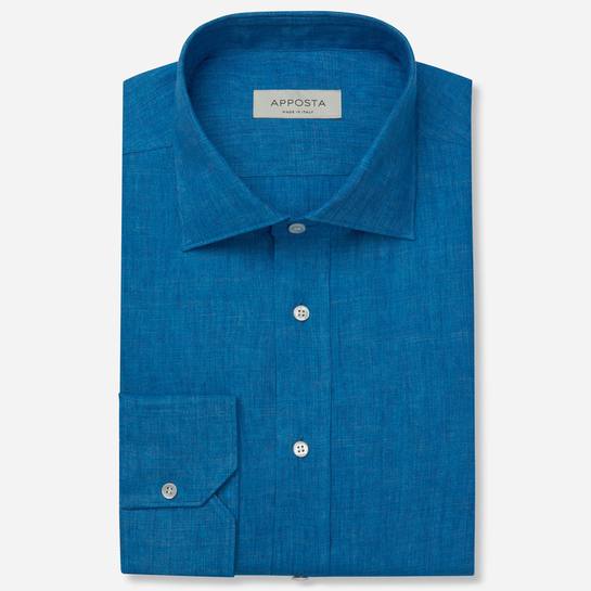 shirt linen plain normandy linen  solid  blue, collar style  semi-spread collar, cuff  angled