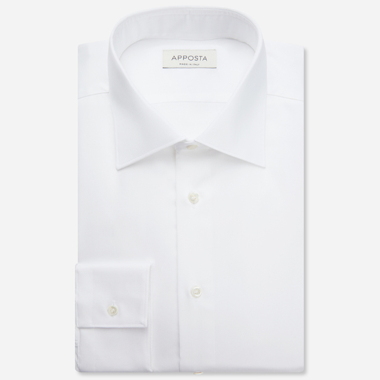 shirt 100% non-iron cotton poplin double twisted  solid  white, collar style  semi-spread collar, cuff  round