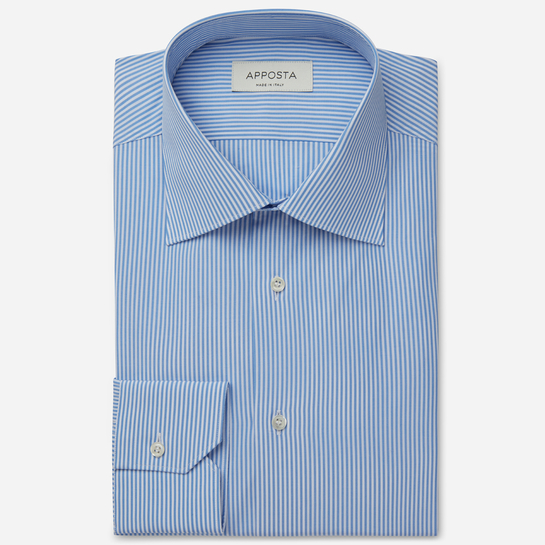 shirt 100% pure cotton poplin  stripes  light blue, collar style  regular straight point collar