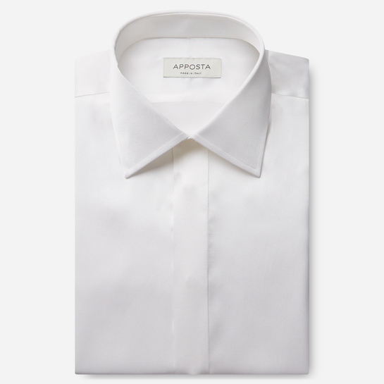 shirt silk poplin  solid  white, collar style  semi-spread collar