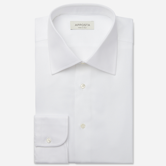 shirt 100% bio cotton royal twill double twisted  solid  white, collar style  regular straight point collar