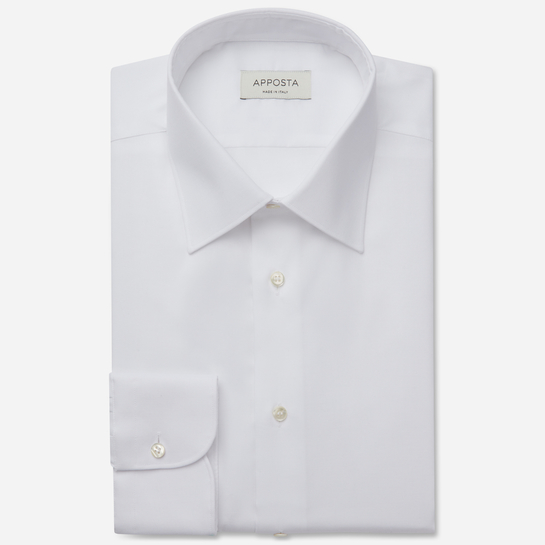 shirt 100% wrinkle free cotton oxford double twisted  solid  white, collar style  semi-spread collar
