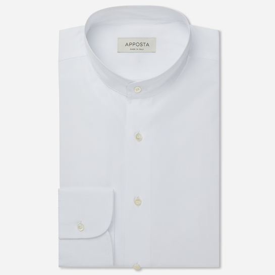 shirt 100% pure cotton poplin double twisted  solid  white, collar style  band collar, cuff  round