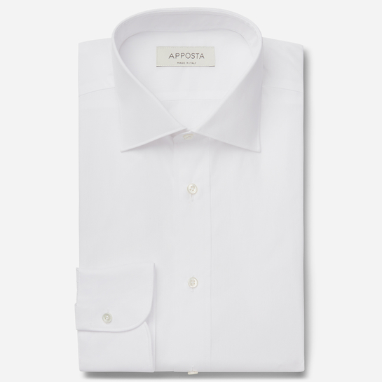 shirt 100% pure cotton poplin double twisted  solid  white, collar style  semi-spread collar