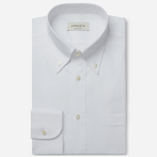 shirt 100% pure cotton oxford  solid  white, collar style  button-down collar