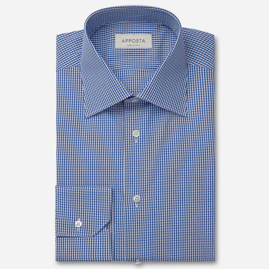 shirt 100% pure cotton fil-à-fil  small checks  blue, collar style  regular straight point collar, cuff  angled