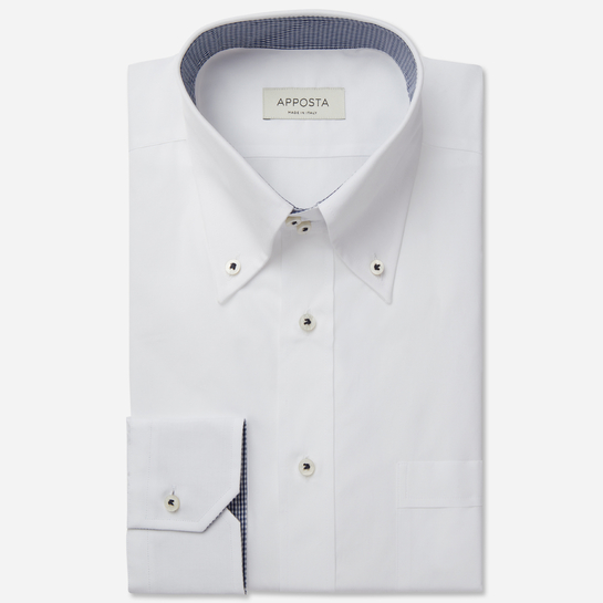 shirt 100% pure cotton poplin double twisted  solid  white, collar style  high button-down collar with 2 buttons, cuff  angled