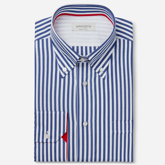 shirt 100% pure cotton plain  stripes  blue, collar style  button-down collar, cuff  angled