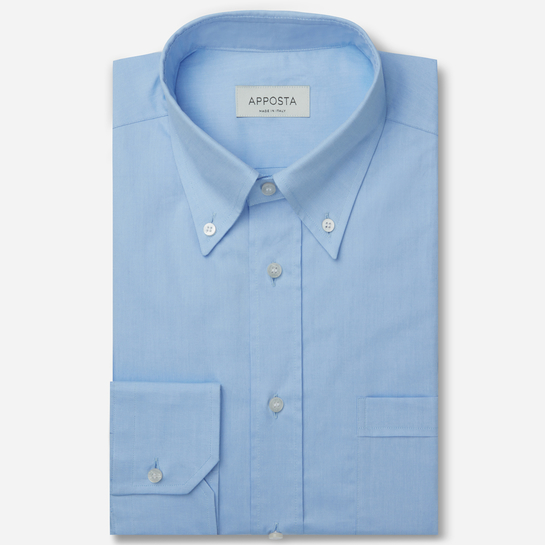 shirt 100% pure cotton pin point  solid  light blue, collar style  button-down collar