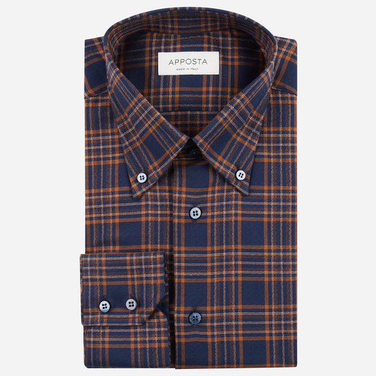 shirt flannel twill  big checks  green, collar style  low button-down collar