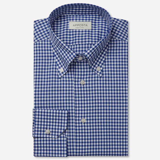 shirt 100% pure cotton zephyr  big checks  blue, collar style  button-down collar, cuff  angled