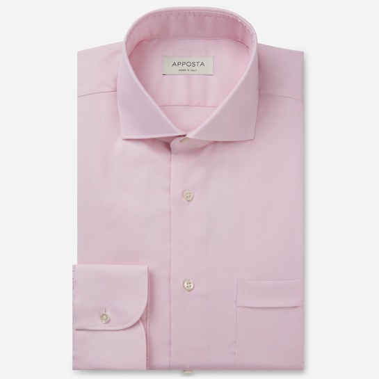 shirt 100% non-iron cotton pin point  solid  pink, collar style  spread collar, cuff  round