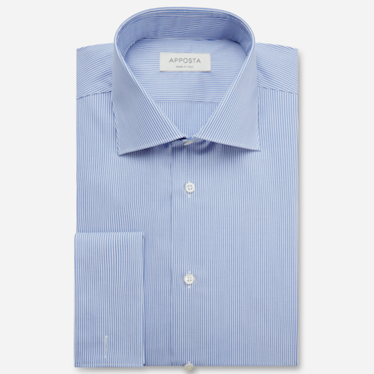 shirt 100% non-iron cotton poplin  stripes  light blue, collar style  semi-spread collar, cuff  french cuff (cufflinks)