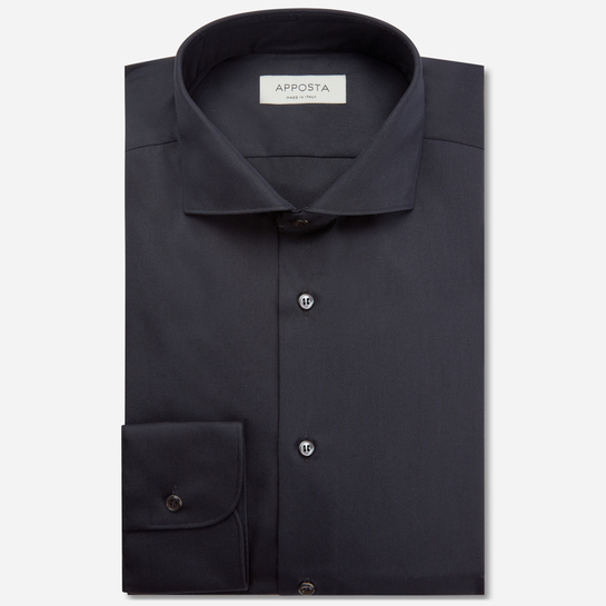 shirt 100% non-iron cotton poplin  solid  black, collar style  lower spread collar