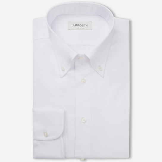 shirt 100% non-iron cotton twill  solid  white, collar style  button-down collar
