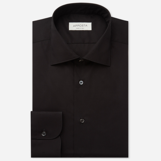 shirt 100% non-iron cotton poplin double twisted  solid  black, collar style  semi-spread collar, cuff  round