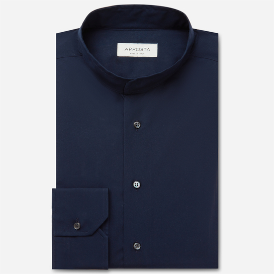 shirt 100% pure cotton poplin  solid  blue, collar style  band collar without button