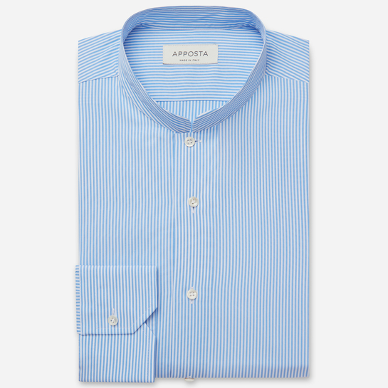 shirt 100% pure cotton plain  stripes  light blue, collar style  open band collar, cuff  angled