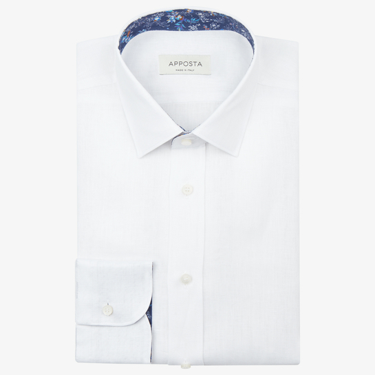 shirt 100% pure cotton twill  solid  white, collar style  low straight point collar