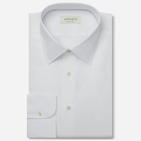 shirt 100% pure cotton mock leno double twisted  solid  white, collar style  low straight point collar